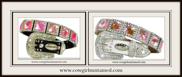 COWGIRL GLAM BELT Pink Crystal Rhinestone Concho Leather Belt
