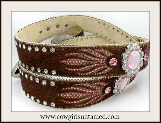 COWGIRL BELT Pink Crystal Concho on Brown Hair on Hide Belt