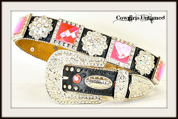 WESTERN COWGIRL BELT Hot Pink Crystal & Silver Concho Black Leather Belt