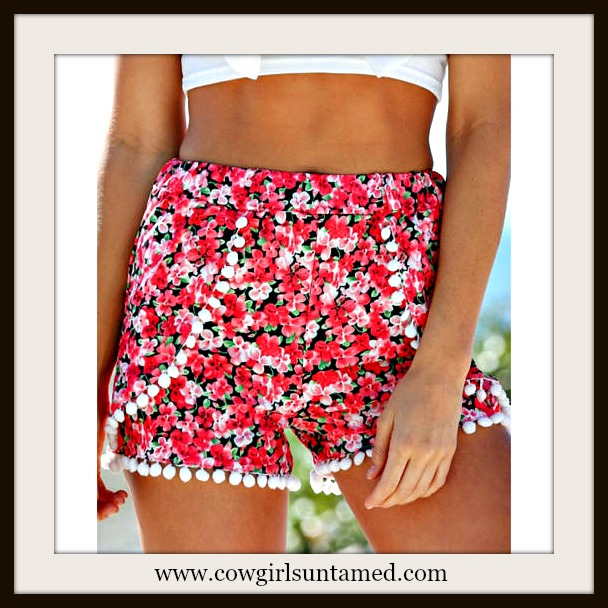 COWGIRL GYPSY SHORTS Pink and Black Floral with Pom Pom Trim Boho Shorts