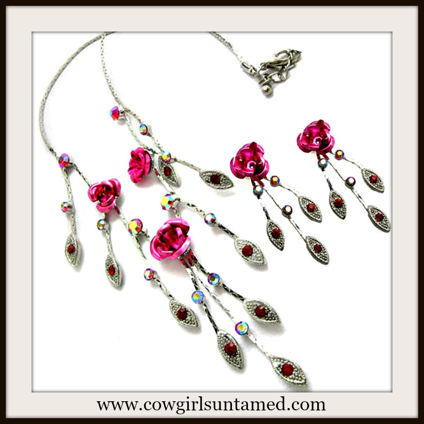 COWGIRL GLAM NECKLACE Pink Rose and Austrian Crystal Leaves Necklace Set