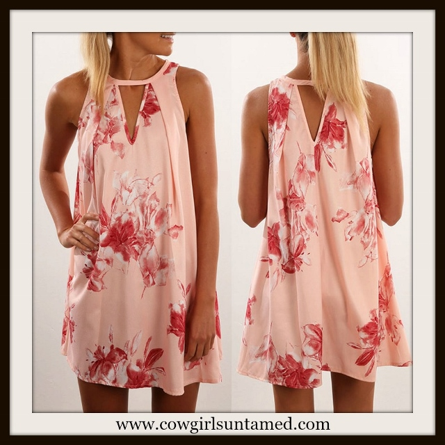 WILDFLOWER DRESS Pink Floral Sleevless A-line Boho Mini Dress