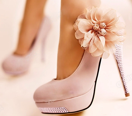 COWGIRL GYPSY SHOES Light Pink Stiletto Platform Heels Shoes with Chiffon