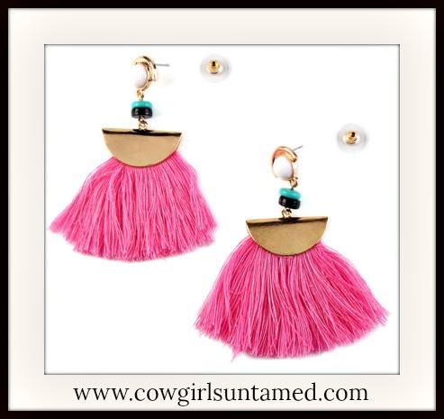 COWGIRL GYPSY EARRINGS Pink Fringe Beaded Golden Earrings