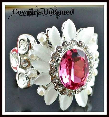 COWGIRL GLAM RING Pink Garnet Cubic Zirconia and Amethyst Silver Ring