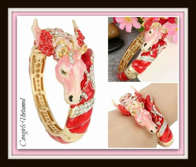 HORSE LOVIN' COWGIRL CUFF Red & Pink Crystal Enamel & Austrian Crystal Pegasus Horse Gold Western Cuff