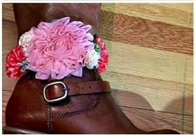WILDFLOWER BOOT JEWELRY Pink, Coral, Cream, and Green Silk Flowers with Pearl & Crystal and Antique Silver Horse Charm on Stretchy White Lace Boot Cuff