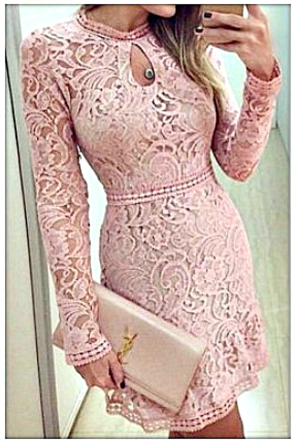 COWGIRL GLAM DRESS Pink High Neckline Keyhole Long Sleeve Lace Mini Dress