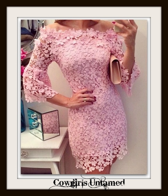 COWGIRL GLAM DRESS Pink Lace On or Off the Shoulder 3/4 Bell Sleeve Mini Dress