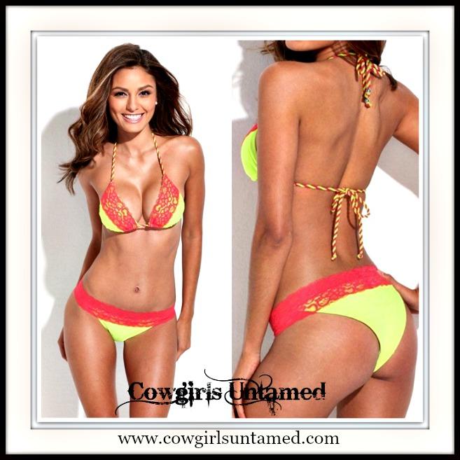 COWGIRL GYPSY BIKINI Bright Yellow with Hot Pink Lace Trim Brazillian Bottom DESIGNER Bikini Set