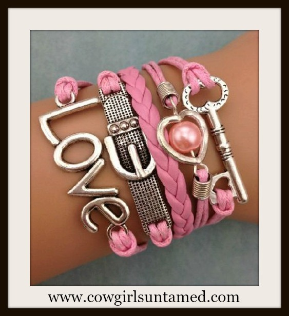 "RODEO REBEL BRACELET Silver Buckle Heart Key ""Love"" Charms on Pink N Multi Strand Western Bracelet"