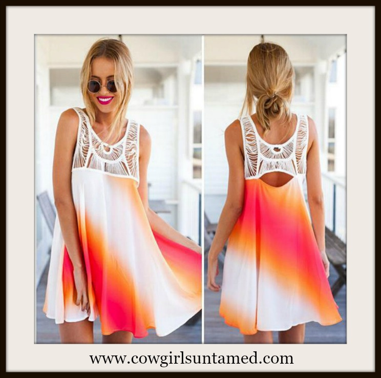 COWGIRL GYPSY DRESS Crochet Lace Open Back Sleeveless A-Line Pink Orange White Ombre Mini Dress