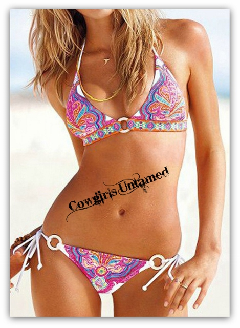 WILD FLOWER BIKINI Aqua Orange Hot Pink Morrocan Tribal Pattern Boho Gypsy White String Bikini