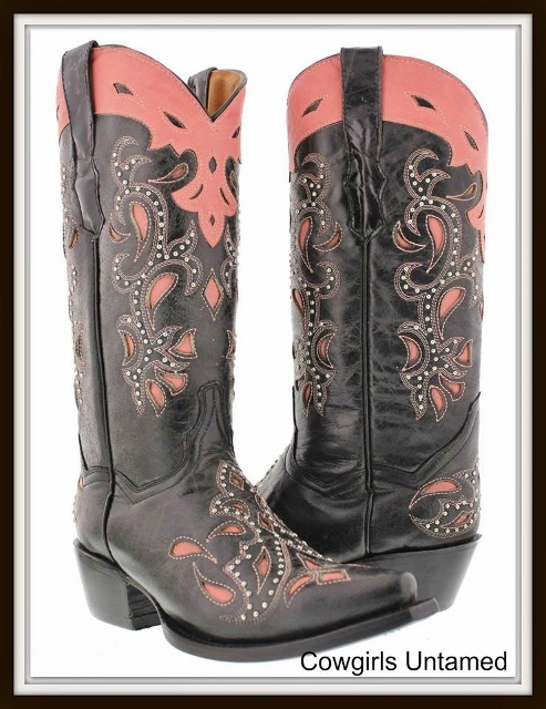 COWGIRL STYLE BOOTS Pink Paisley Inlay Silver Studded BLACK Genuine Leather Cowgirl Boots