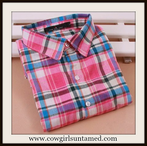 WESTERN COWGIRL SHIRT Button Down Pink Aqua Plaid Collared Shirt