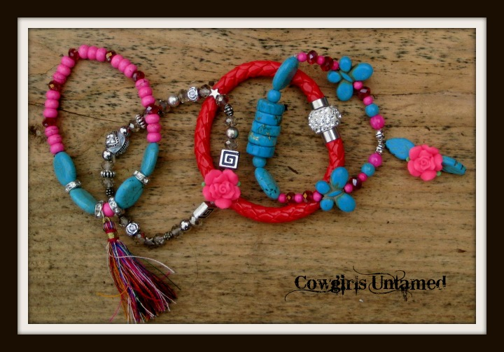 COWGIRL GYPSY BRACELET SET of 4 Multi Color Silk Tassel Charm on Pink, Red & Turquoise Swarovski Crystal Beaded Stretch Bracelet SET of 4