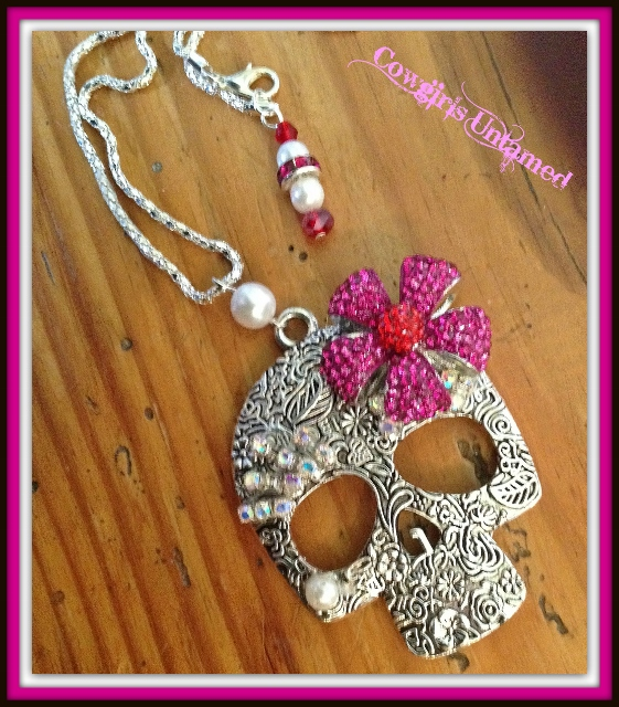REBEL SOUL NECKLACE Hot Pink n Red Crystal Flower Rhinstone and Pearl Antique Silver Floral Embossed Skull Necklace