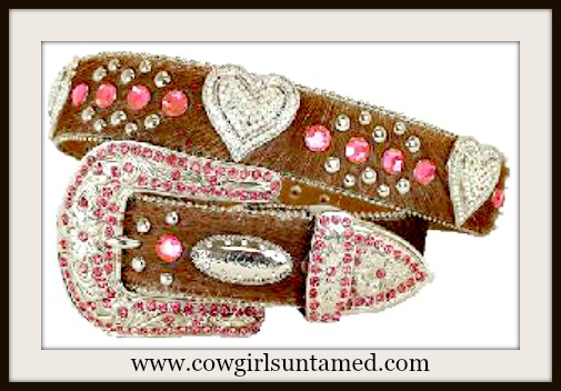 COWGIRL GLAM BELT Pink Crystals & Rhinestone Heart Conchos on Brown Hair on Hide Belt