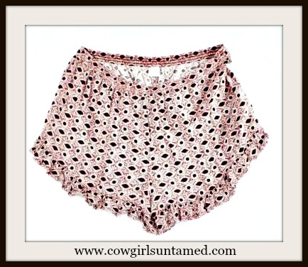 WILDFLOWER SHORTS Pink Ruffle Elastic Waist Shorts