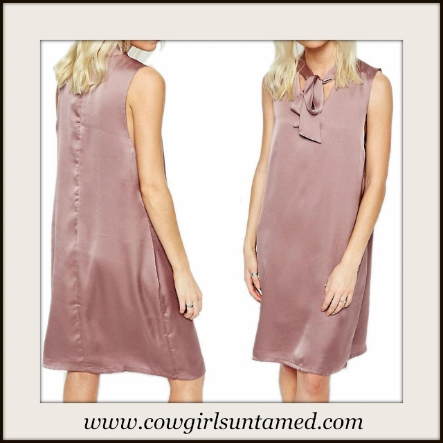 COWGIRL GLAM DRESS Dusty Pink Satin Sheath Sleeveless Dress