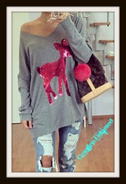 WILDFLOWER TOP Hot Pink Sequin Bambi on Grey Long Sleeve V Neck Top