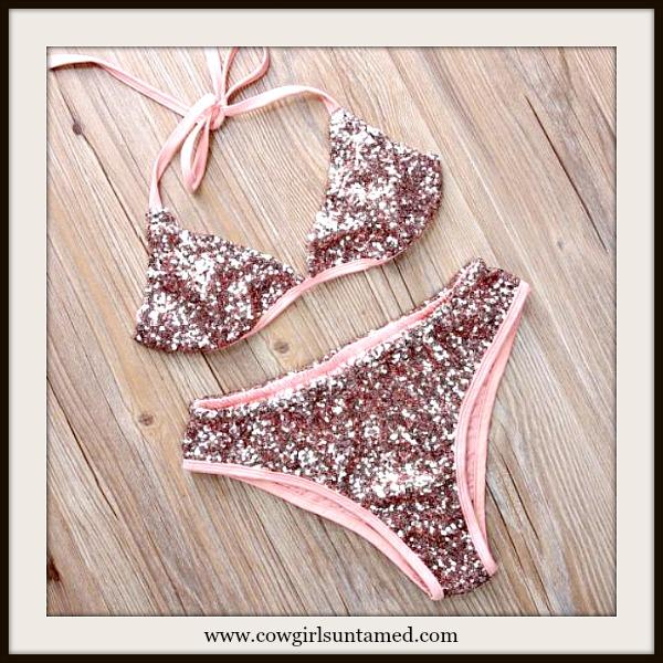 COWGIRL GLAM BIKINI Pink Sequin Bikini 2 Piece Set