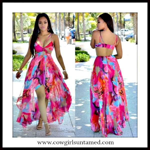 COWGIRL GLAM DRESS Multi Color Floral Open Back Semi Sheer High Low Chiffon Maxi Dress