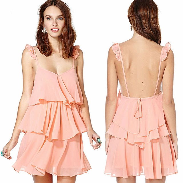 COWGIRL GLAM DRESS Pink Backless Tiered Chiffon Western Mini Dress