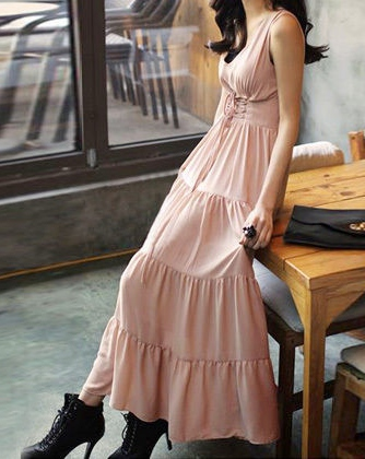 COWGIRL GYPSY DRESS Empire Lace Up Front Cinched Waist Tiered Sleeveless Light Soft Pink Western Dress