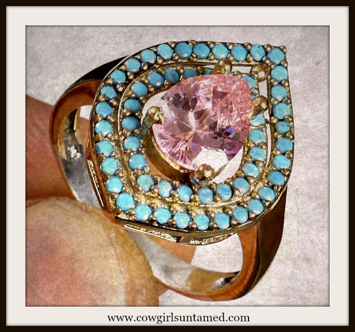 VINTAGE GYPSY RING Pink Topaz & Turquoise .925 Silver & Bronze Gemstone Ring