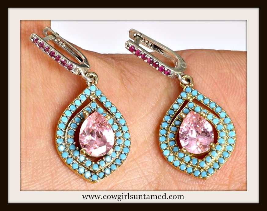 VINTAGE GYPSY EARRINGS Handmade Ruby Pink Topaz Turquoise .925 Silver & Bronze Gemstone Earrings