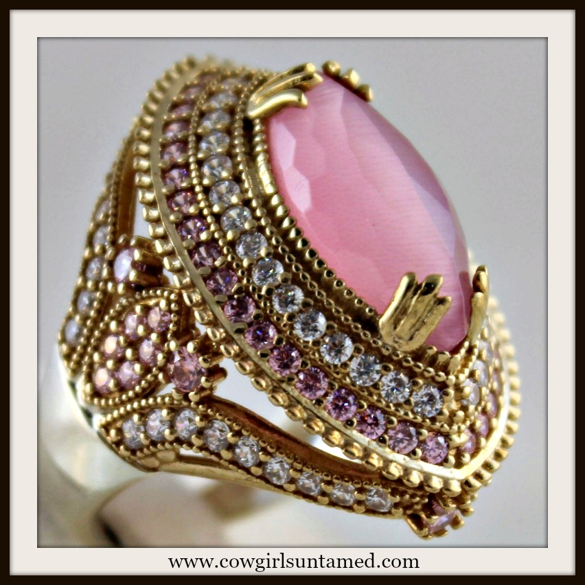 VINTAGE GYPSY RING Pink Cat's Eye & Quartz 925 Sterling Silver & Antique Bronze Ring