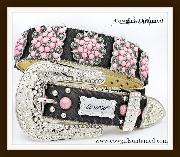 COWGIRL STYLE BELT Pink Turquoise Antique Silver Crystal Berry Concho on Black Hair on Hide and Crystal Silver Buckle Western Belt