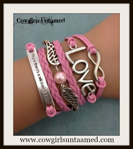 "WESTERN COWGIRL BRACELET Silver ""LOVE""  ""Where There's A Will There's A Way"" Charm on Pink Leather Charm Bracelet"