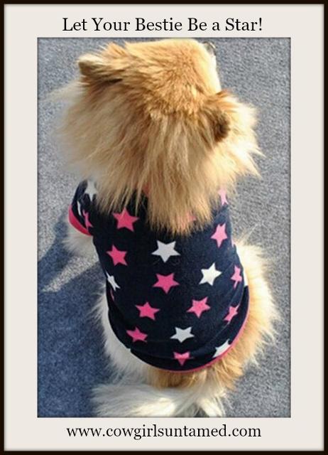 BLINGIN' BESTIES Pink and White Star Blue T-shirt