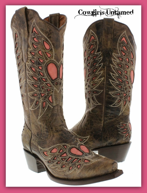 COWGIRL STYLE BOOTS Pink Angel Winged Heart Underlay Brown Leather Distressed Boots