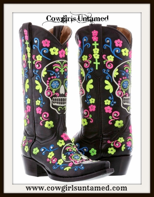 COWGIRLS ROCK BOOTS Multi Color Floral Embroidery & Sugar Skull Silver Studded Black Leather Boots