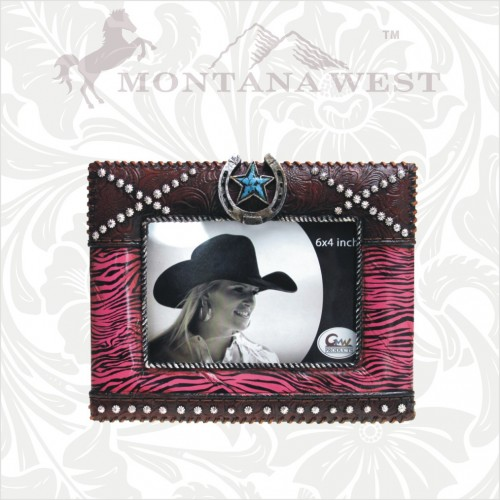 COWGIRL STYLE DECOR Pink Zebra Horseshoe with Turquoise Star Western Photo Picture Frame