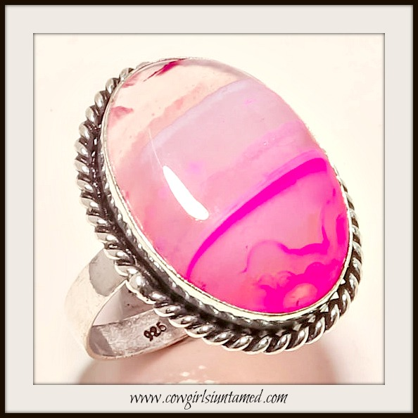 COWGIRL GYPSY RING Shades of Pink Agate Sterling Silver Ring