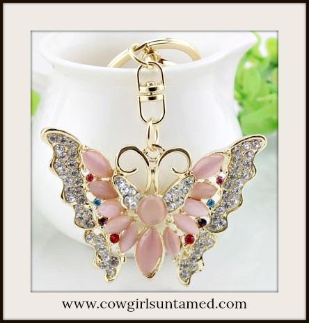 COWGIRL GLAM KEYCHAIN Rhinestone & Pink Crystal Golden Butterfly Handbag Accessory