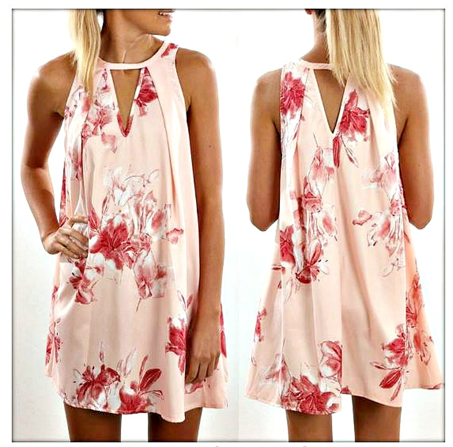 WILDFLOWER DRESS Pink Floral Sleevless A-line Boho Mini Dress