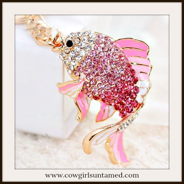 COWGIRL GLAM KEYCHAIN Pink Ombre and White Crystal & Enamel Fish Handbag Accessory Key Ring