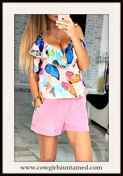 WILDFLOWER TOP Colorful Butterflies Pink Cami Tank Top Blouse