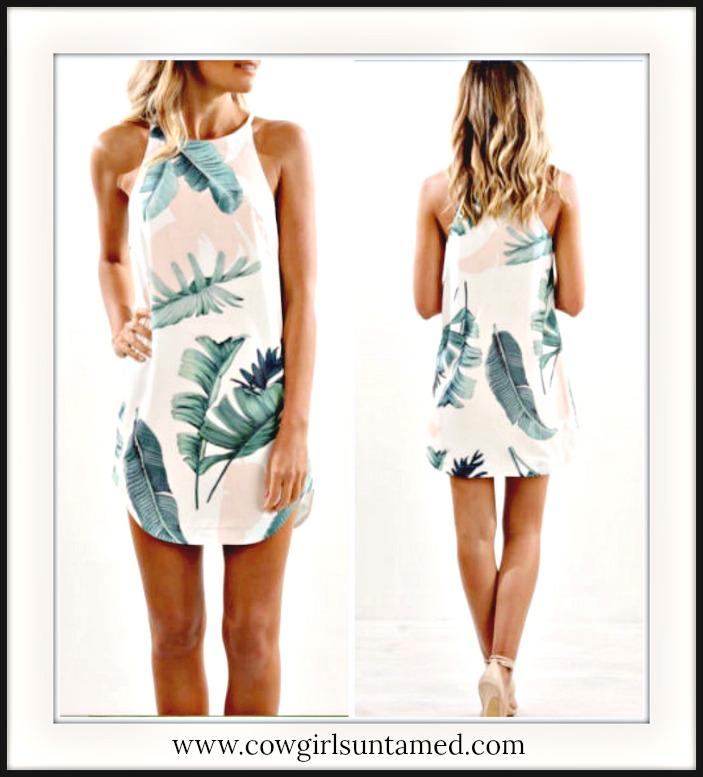 WILDFLOWER DRESS Green Leaf Print on Sleeveless Mini Dress