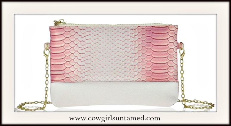 COWGIRL GLAM PURSE Soft Crocodile Pattern Faux Leather Crossbody / Wristlet
