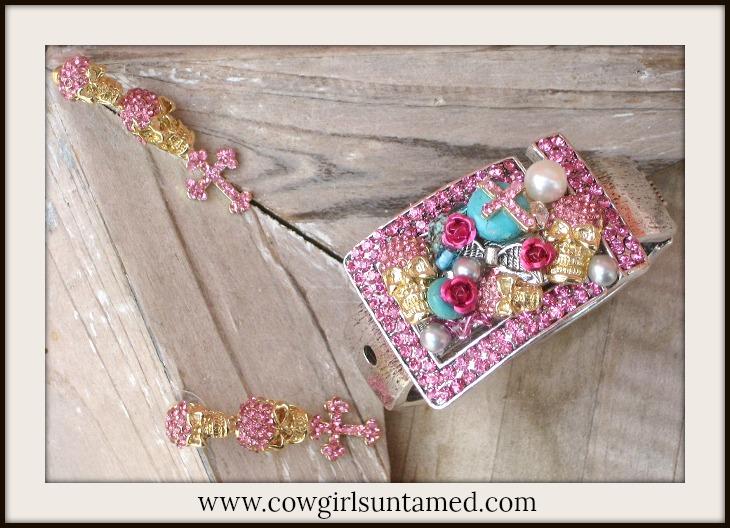 COWGIRL GYPSY CUFF SET Pink Rhinestone Custom Skull n Cross Western Cuff Bracelet & Earrings SET