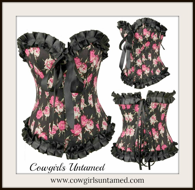 CORSET - COWGIRL GYPSY Pink Roses on Black Satin N Ruffle Lace Up Back Western Corset Top