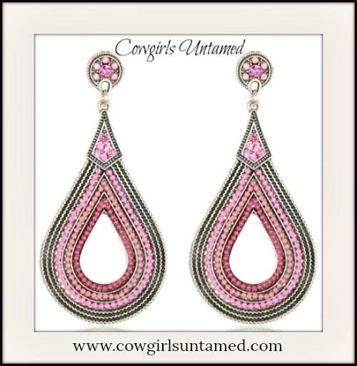 COWGIRL GYPSY EARRINGS Pink Crystal Beaded Teardrop Boho Earrings