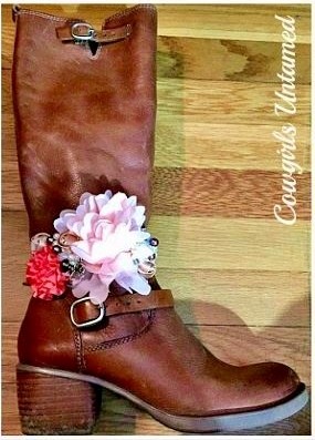 WILDFLOWER BOOT JEWELRY Pink, Coral, Cream & Gold Flowers with Pearls, Crystals, Rhinestones & Horse Charm Lace Boot Cuff