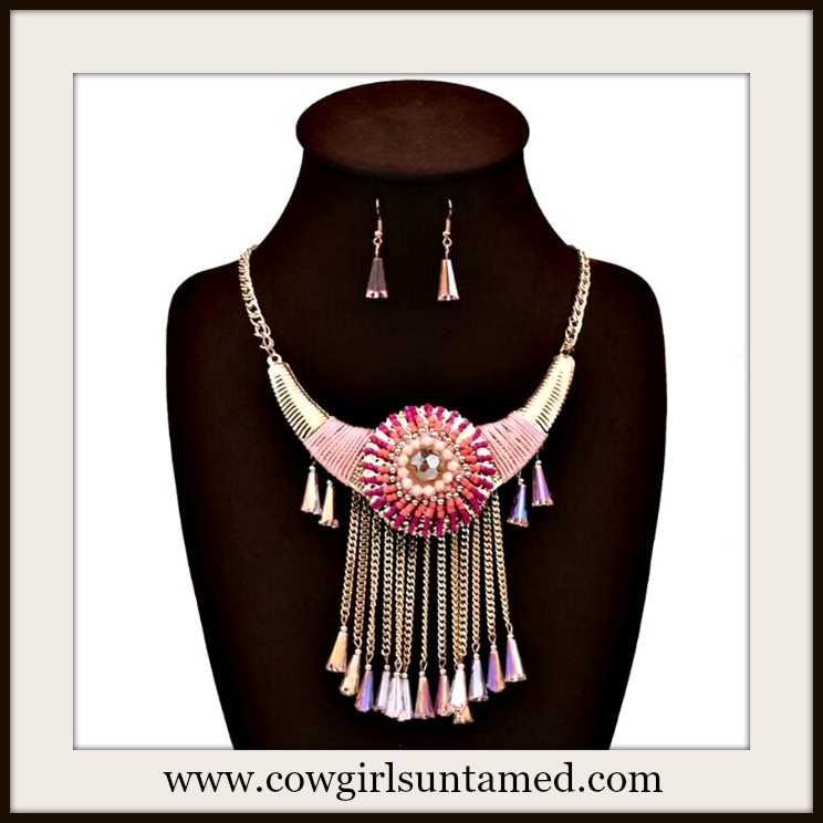 COWGIRL GYPSY NECKLACE SET Shades of Beaded Pink and Gold Chain Crystal Tassel Earrings and Necklace Set